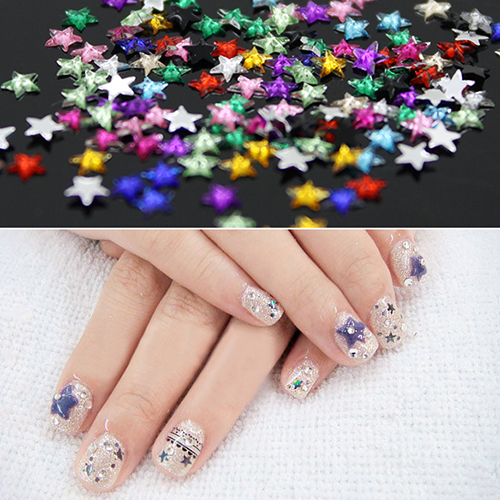 12 Colors 3D Pentagram Nail Art Salon Stickers Tips  DIY Decorations Beauty Studs  with  Wheel 5VY4 7H27