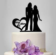 Lesbian Wedding Cake Topper Silhouette Cake Topper Personalized Women Wedding Decoration Cake Toppers Party Gifts and Favors(China)