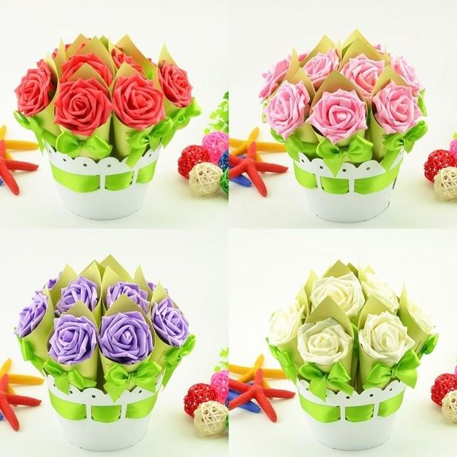 4 Sets Creative Flower Pot wedding favors gifts luxury rose ...