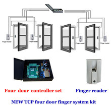 TCP four door access controller + power case kit. comprises four Door controller,exit button , Finger reader,finger scanner etc.