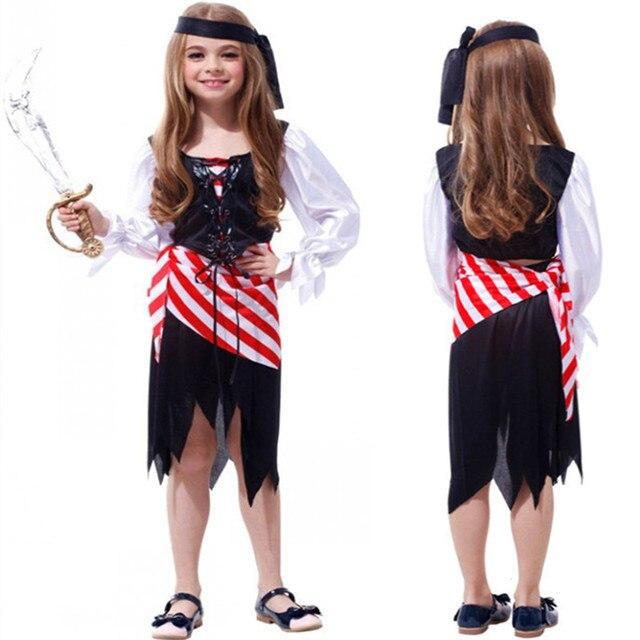 2016 Nuevo Llega Trajes de Pirata de Halloween Navidad Niñas Cosplay Fiesta de Disfraces Para Niños