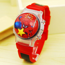 Tide boy spiderman watch cartoon children digital electronic watch boy girl baby flip hair flash