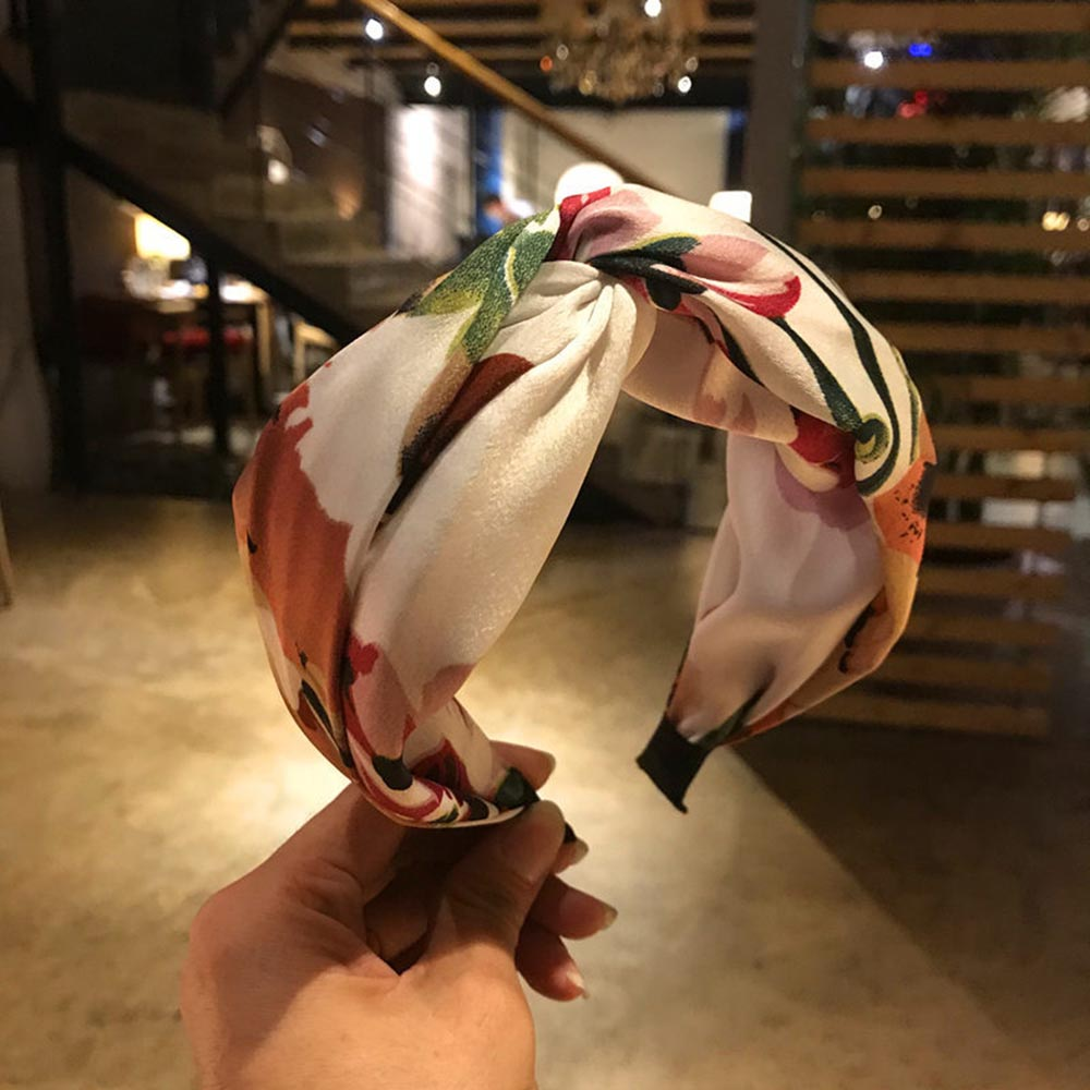 2019 Fashion Women Flower Print Hairband Top Knot Turban Headband Hair Hoop Wide Patchwork Hair Bands Bezel Hair Accessories