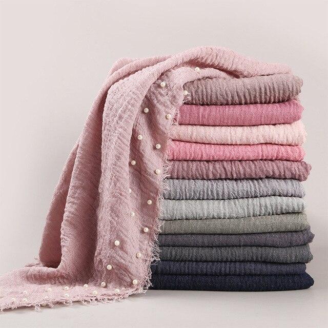 女性の無地ヒジャーブスカーフ女性バブル綿釘付け真珠スカーフラップフリンジもみくちゃイスラム教徒のスカーフ/スカーフ特大ショール