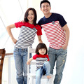 Red blue next summer family look matching clothes mother daughter father and son outfits mae e filha navy stripe casual shirt