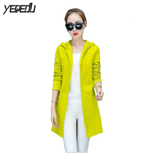 #4007 2017 Spring Neon green Casual Long trench coat Good quality Windbreaker Slim Cardigan Thin With hooded Female overcoat
