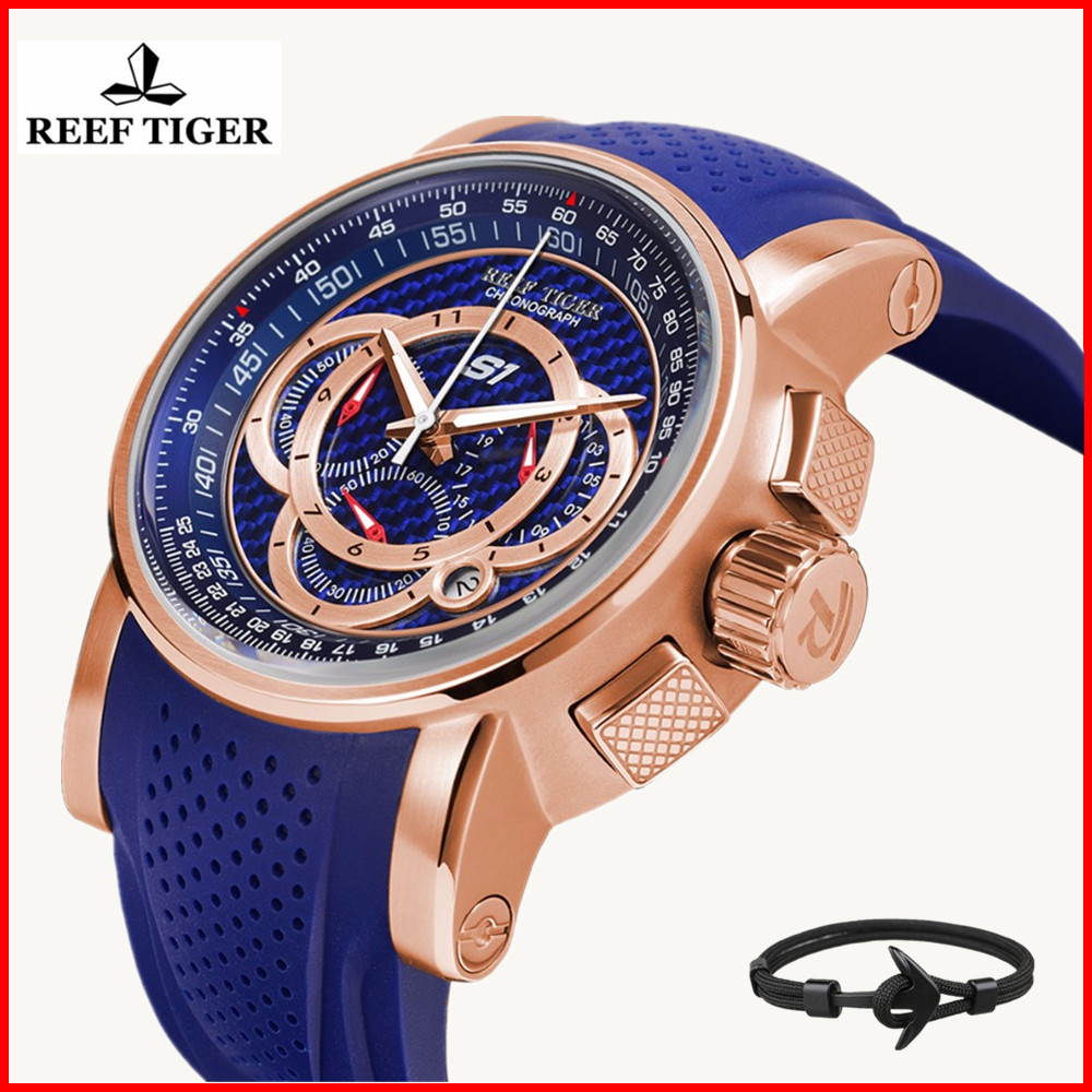 Reef Tiger Top Brand Speed Sport Watches for Men Sports Rubber Strap Blue Waterproof Chronograph Quartz