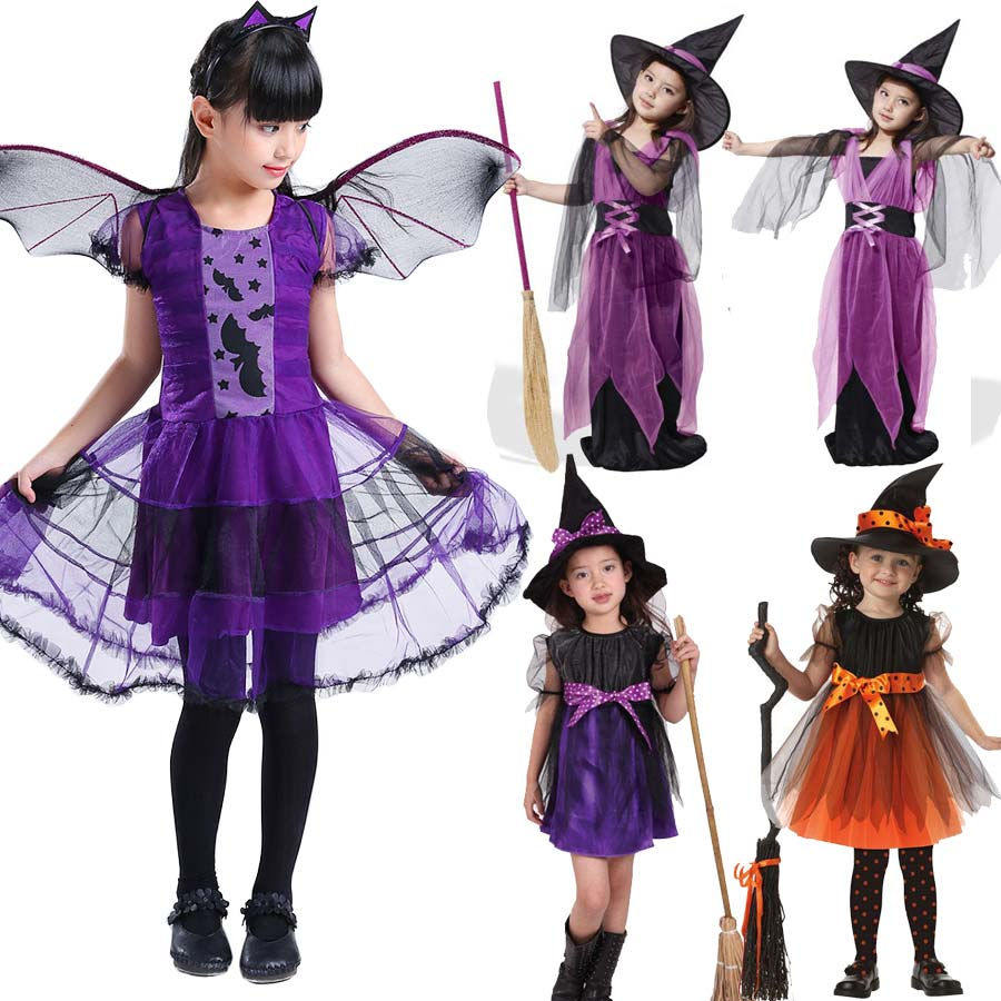 Halloween Costumes for Children Kids Witch Costume Fancy Fantasia Baby Purple Witch Dress Cosplay for Girl Girls Christmas Gifts
