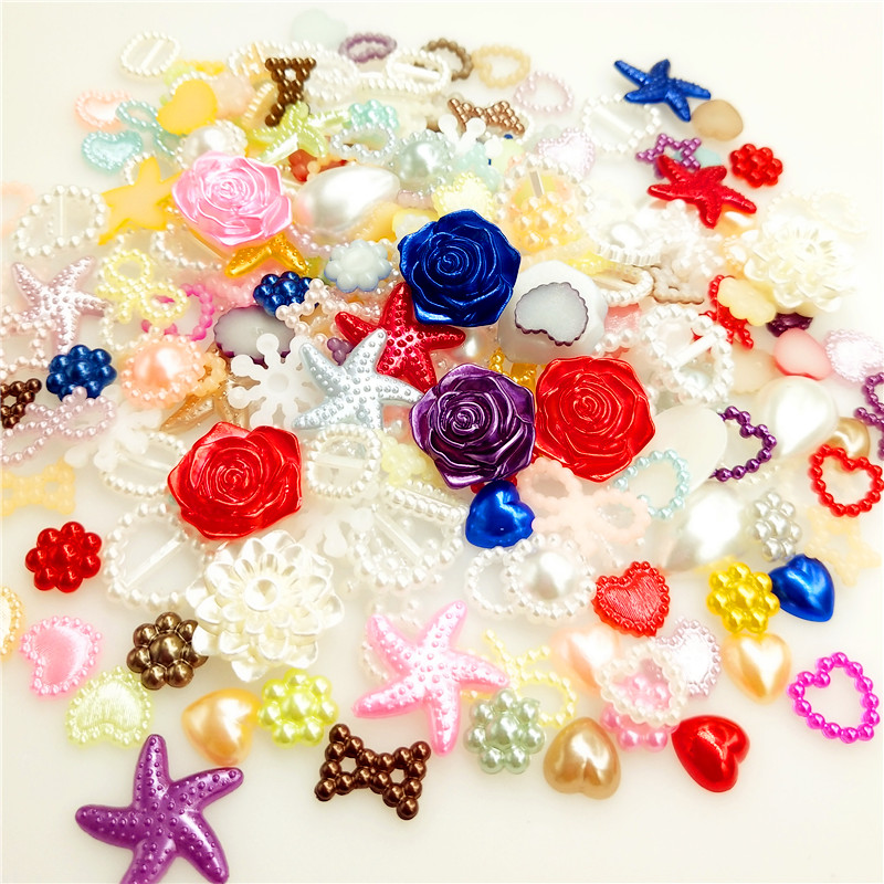 100PCS/lot  4-20mm Half Round Pearls Seastar Bow Rose Rhinestone Flat Back Pearls Bead Loose Beads Gem  Star Heart ABS Flatback