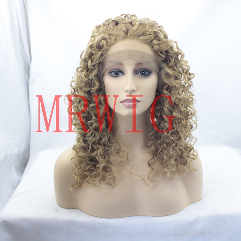 MRWIG real hair long 20in kinky curly synthetic front wig middle part blonde hair light brown lace combs&straps