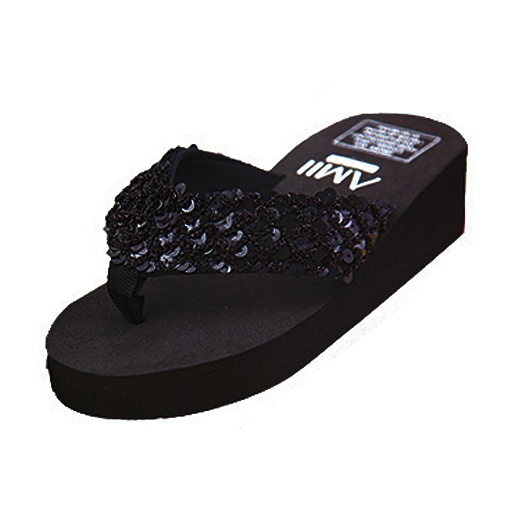 ASDS New slippers female slippers wedges platform elevator slip-resistant paillette beach flip flops black