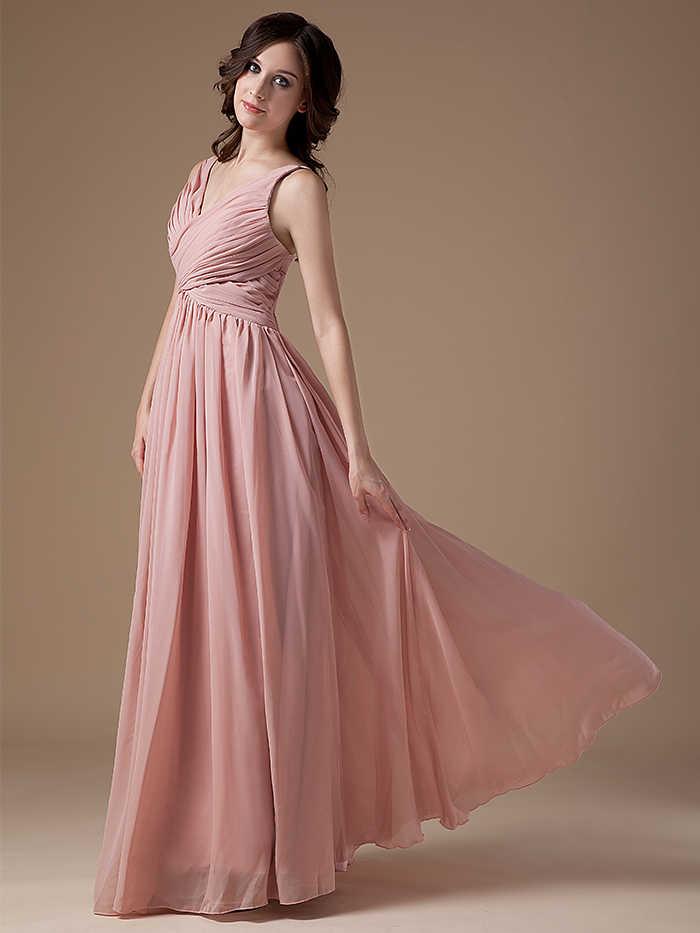 15d3333fcdc ... 2019 пыльная роза длинные подружек невесты платья для женщин V образным  вырезом без рукавов плиссированные шифон ...