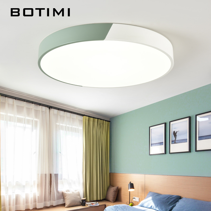 BOTIMI LED Ceiling Lights Colorful Ceiling Mounted For Living Room Round Bedroom Lamp Metal Frame Kitchen Lighting Fixture