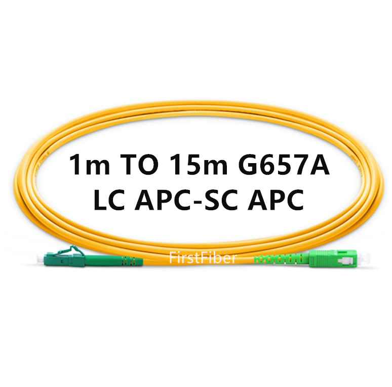 LC APC To SC APC Fiber Patch Cable G657A, Jumper, Patch Cord Simplex 2.0mm PVC OS2 SM Bend Insensitive 1m 2m 3m 5m 10m 15m