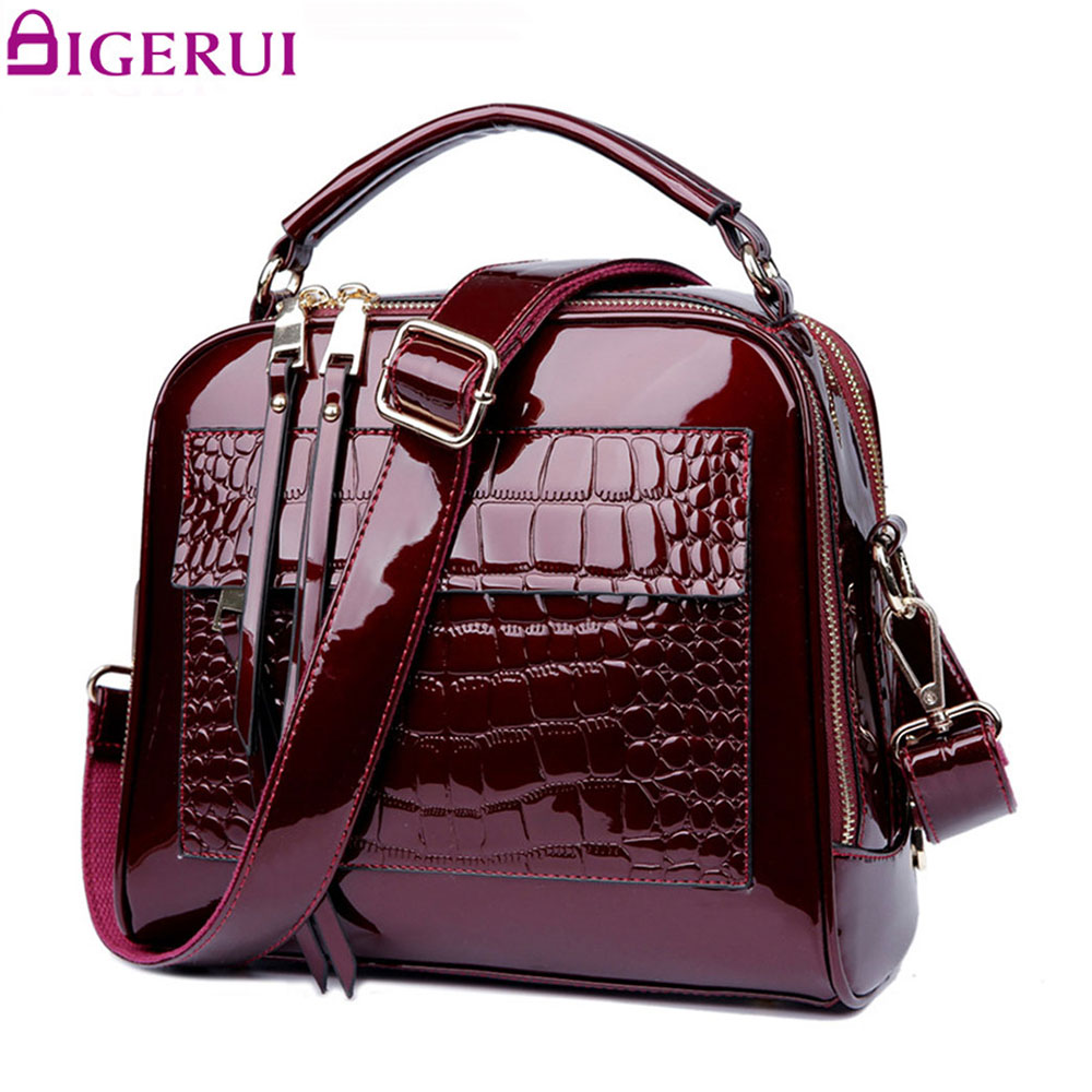 DIGERUI New Women Bag Patent Leather Handbags Crocodile Vintage Women Totes Bag Female Luxurious Shoulder Bags Totes DH0160 2018 yuanyu 2016 new women crocodile bag women clutches leather bag female crocodile grain long hand bag