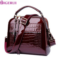 DIGERUI New Women Real Patent Leather Handbags Crocodile Vintage Women Totes Bag Female Luxurious Shoulder Bags