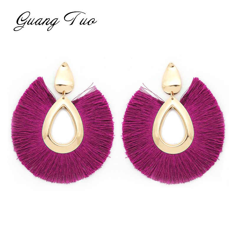 ES2127 19 Colors Fashion Tassel Earrings Bohemian Big Sector Shape Earrings for Women Jewelry Hyperbole Female Drop Brincos