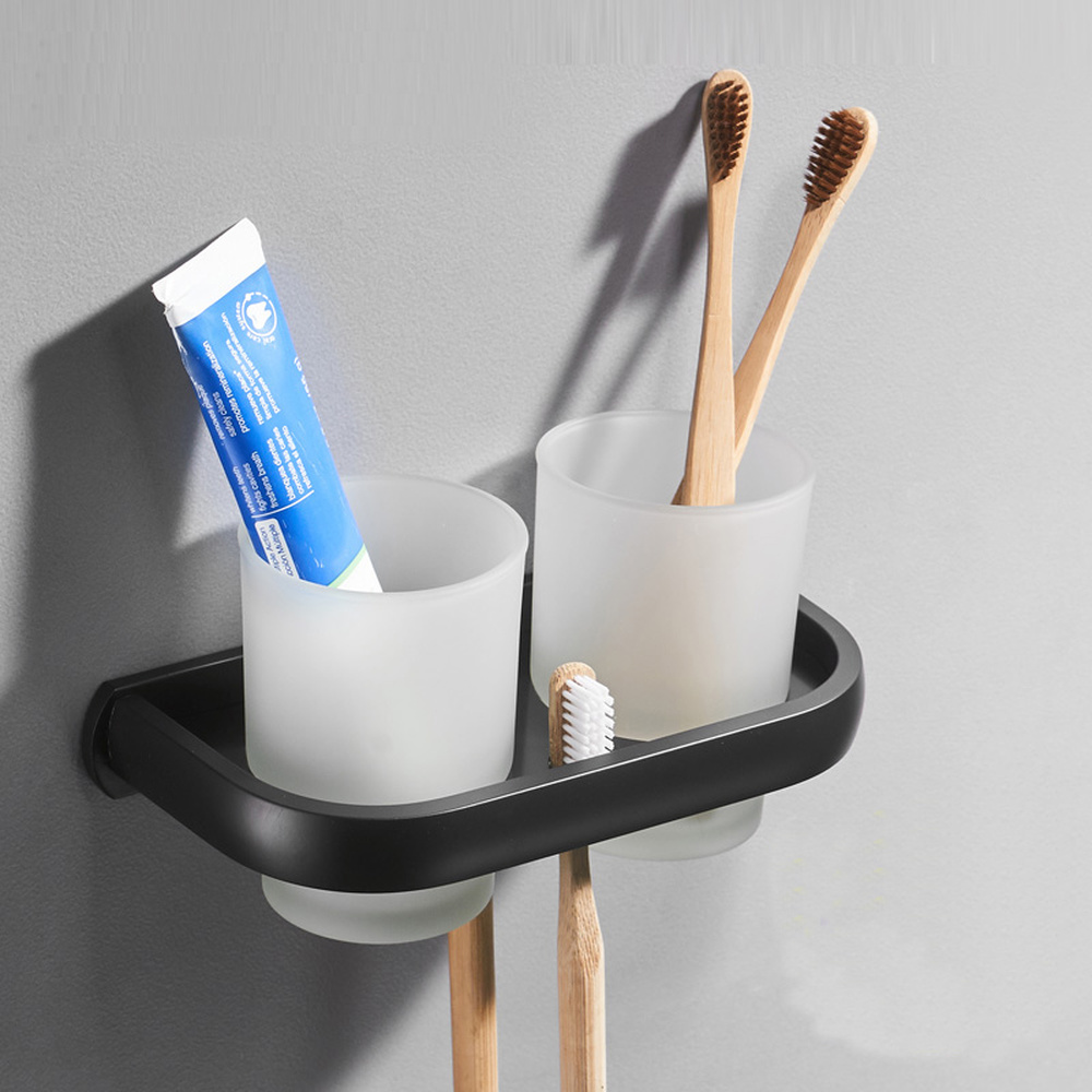 A1 Couple double cup holder glass holder toothbrush holder roasting aluminum free punching bathroom rack LO712738 image