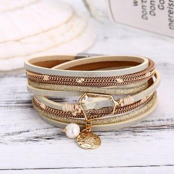 IF YOU Fashion Pearl Multilayer Leather Vintage Charm Pendant Bracelets 3