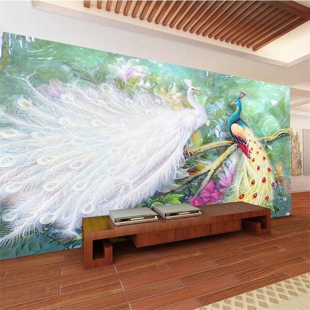 Menyesuaikan Merak Wallpaper Jade Ukiran Peony Kertas Dinding Untuk Dapur Ramah Lingkungan Tv Latar Belakang Ruang