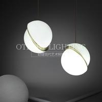 Смещение стеклянные подвесные лампы освещения Современные светодиодные подвесные светильники для гостиной установлен обеденный E27 подвес