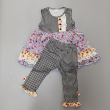 Baby Girl Outfit CONICE NINI Summer Spring Clothes Newborn Remake Flower Pattern Top With Ruffles Boutique Clothing Set