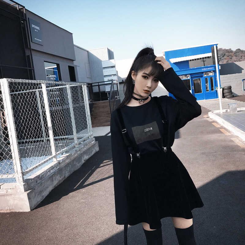 Fashion Korean College Style Velvet Suspender Skirt Autumn Winter Female  Student Ulzzang Chic Thin All,Match Solid Color Skirt