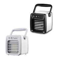 DC 5V 5W Mini Air Cooling Fan Portable Dormitory Air Conditioning Fan USB Charging Cold Air Fan for Home Office Use