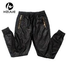 Мужские кожаные штаны в европейском и американском стиле, известный бренд класса люкс, штаны с перекрестными ремешками на молнии в стиле панк, черные свободные штаны в стиле хип-хоп для мужчин