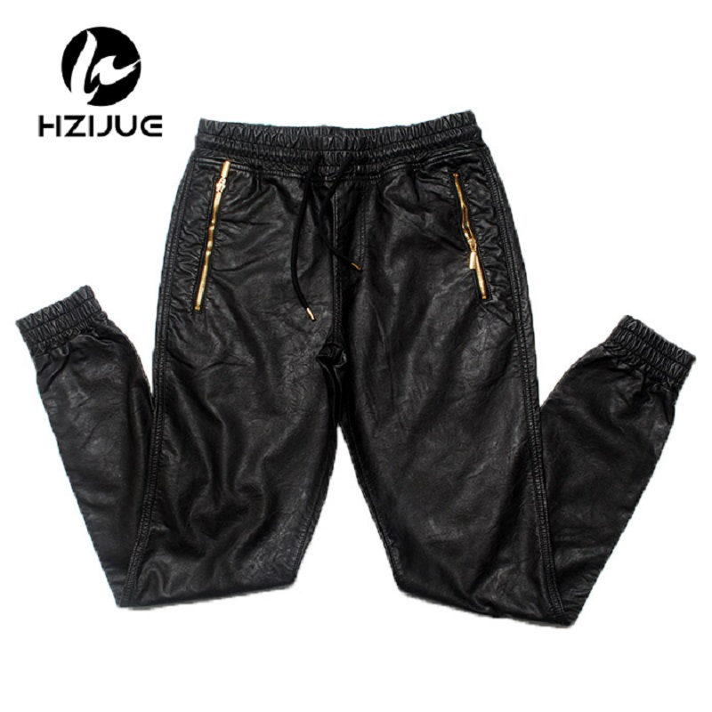 European American Style Men's Leather Pants Famous Luxury Brand Cross-pants Zipper Punk Black Hip-Hop Loose Pants For Men