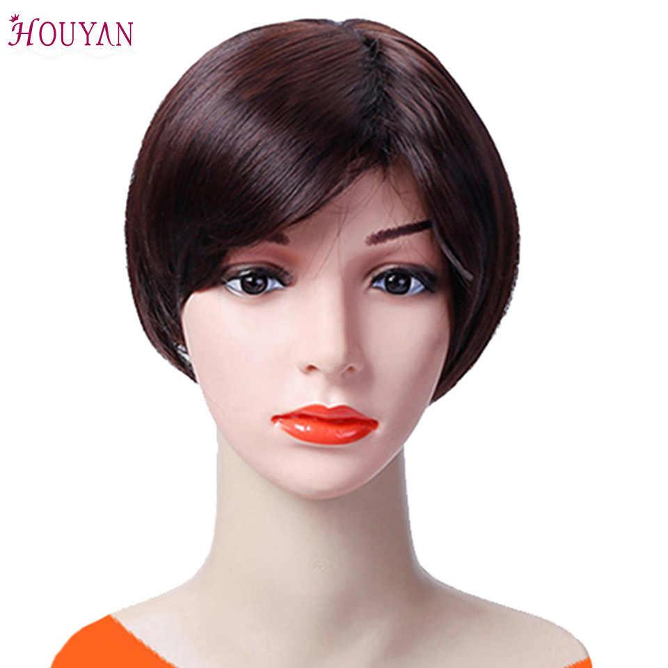 HOUYAN короткие парики человеческих волос для черный Для женщин прямые Синтетические волосы на кружеве парик бразильский парики Короткие человеческих волос парики