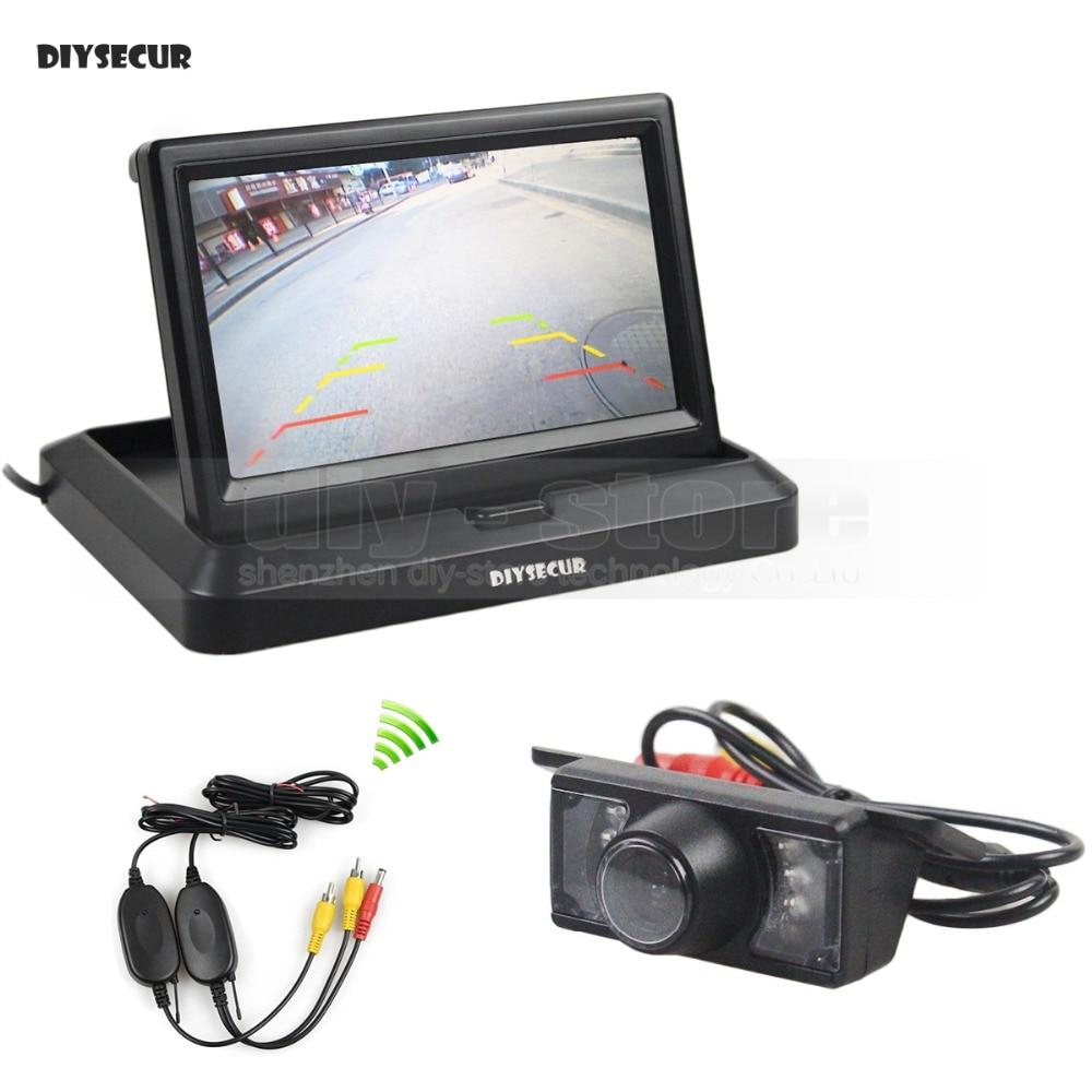 DIYSECUR Wireless 5inch 800 x 480 Foldabel Car Monitor Waterproof IR Night Vision Backup Reverse Camera Car Rear View Camera