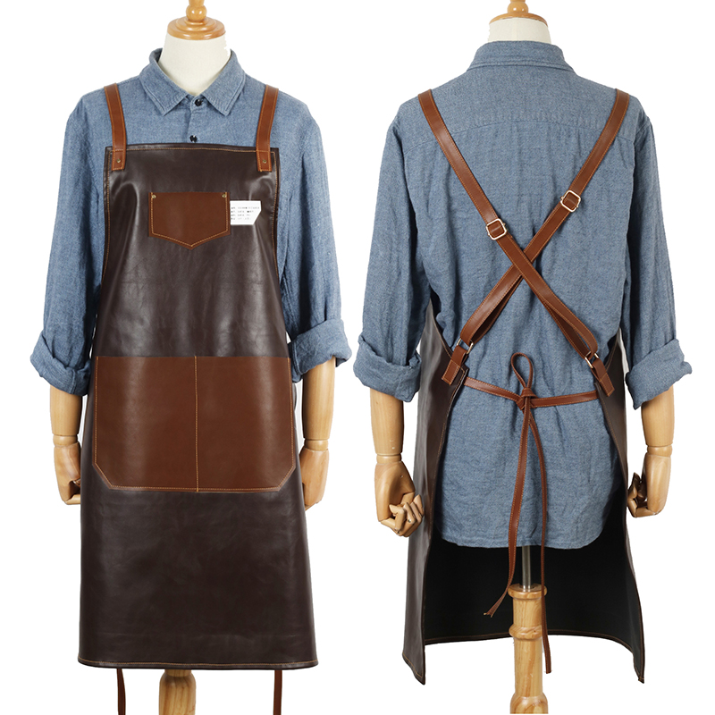New 2019 BBQ Leather PU Apron Bib Leather Straps Chef Kitchen Apron for Women Men Pockets barber cook Restaurant Waitress Logo