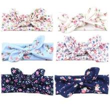 New Cute Printing little Flower Knot Headband Kids Cotton Tie a Knot Turban Hair Accessories scrunchy elastic hair bands W197