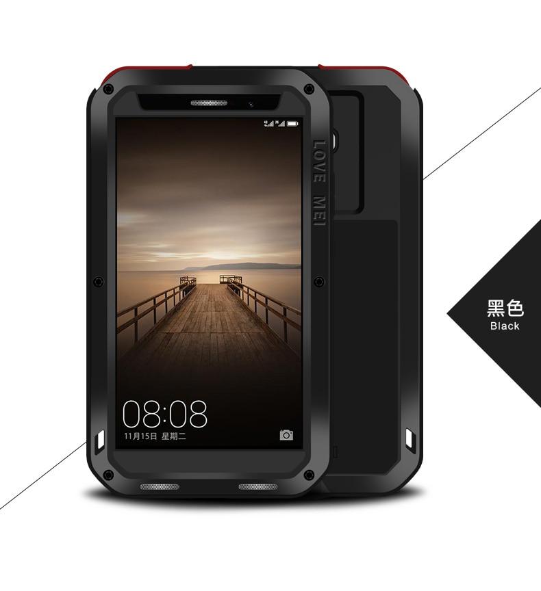 imágenes para Amor Mei Potente Caso Para Huawei Mate 9 de Silicona A Prueba de Golpes Cubierta del Metal de Aluminio con Vidrio Templado para huawei mate9