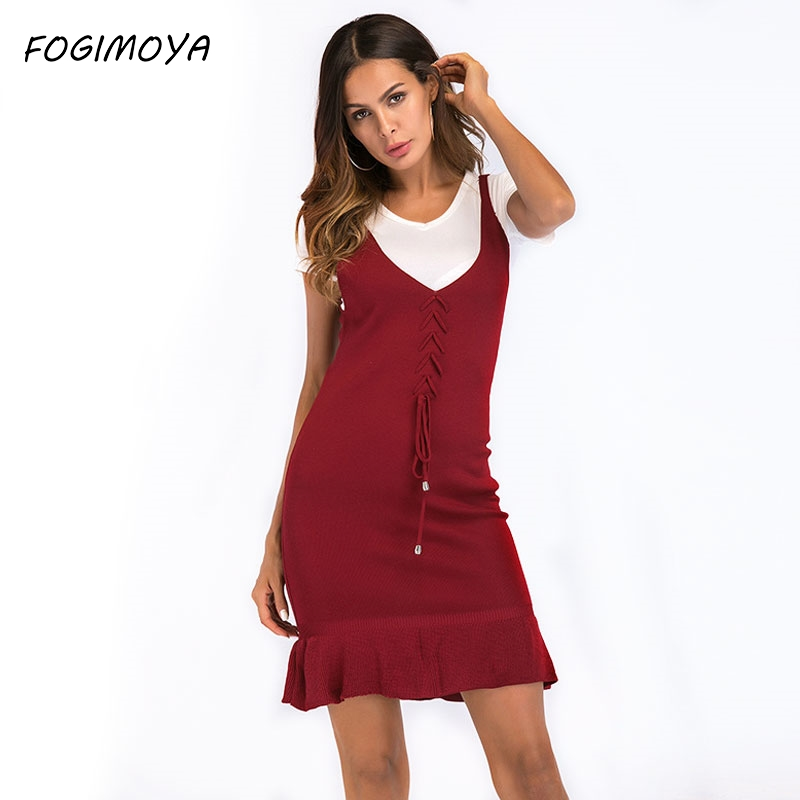 FOGIMOYA Strap Dress Women 2018 Summer Solid Kniiting Flounce Dress Womens Sexy Strap Drawstring Dresses A Line Mini Dresses New