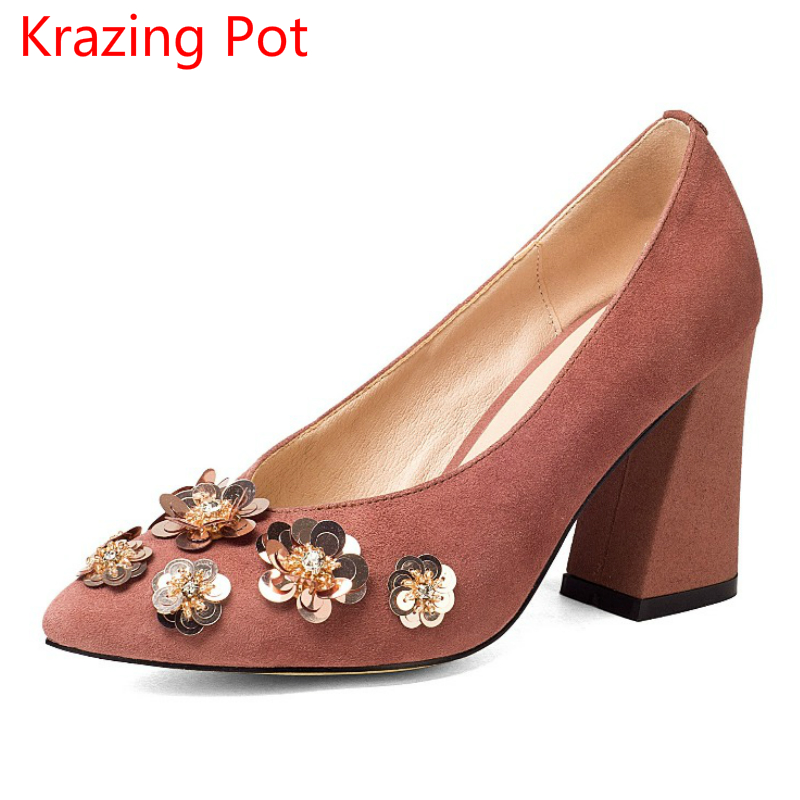 New Arrival Kid Suede Autumn Shoes Slip on Women Pumps High Heels Pointed Toe Flower Solid Sweet Glitter Shallow Lady Shoes L6f2 2017 shoes women med heels tassel slip on women pumps solid round toe high quality loafers preppy style lady casual shoes 17