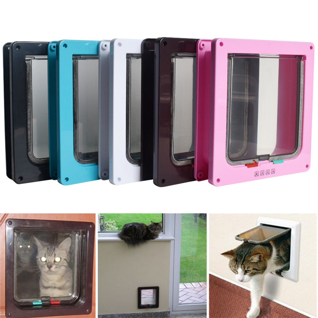 4 Way Lockable Dog Cat Kitten Door Security Flap Door Abs Plastic S/m/l Animal Small Pet Cat Dog Gate Door Pet Supplies 5 Colors