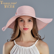 Charles Perra Sun Hats Female Spring Summer New Foldable Women Sunscreen Straw Hat  Fashion Elegant Striped Beach Lady Caps 2719