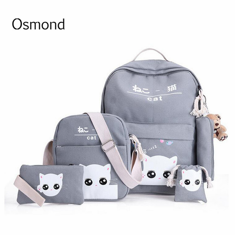 Osmond 5 Pcs/set Women Backpacks Cute Cat School Bags For Teenage Girls Printing Canvas Backpacks Ladies Shoulder Bags Mochila