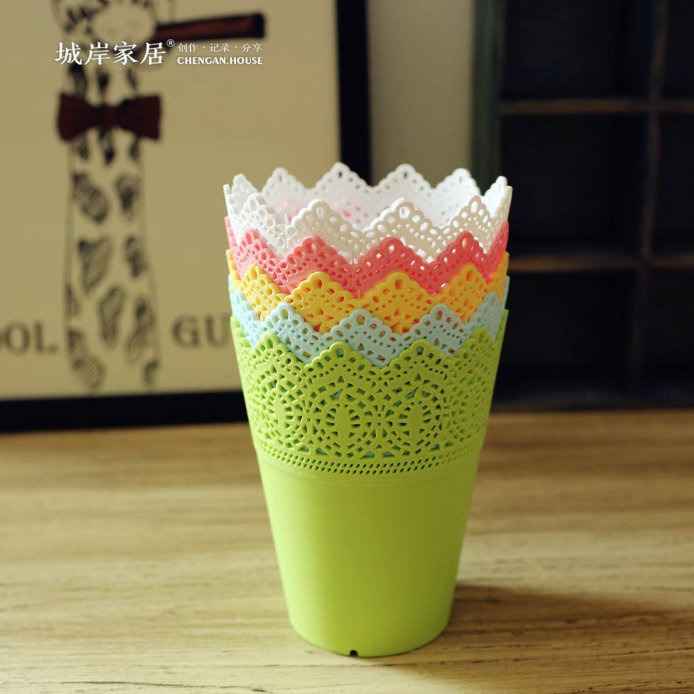 alta calidad floral hollow diseo florero decoracin del hogar de color slido pequeo vaso de plstico