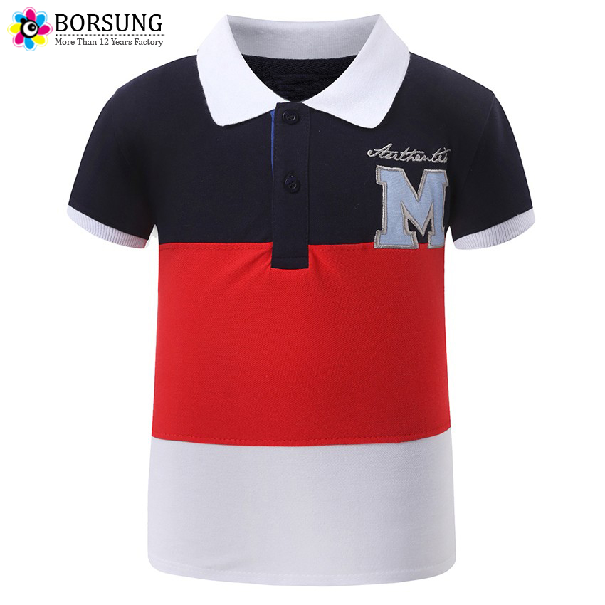 2-7Y Fashion Boys T shirt Kids Cotton Short Sleeve T-shirts Summer Children Letter Top Tees Patchwork Embroidery Boys Polo Shirt все цены