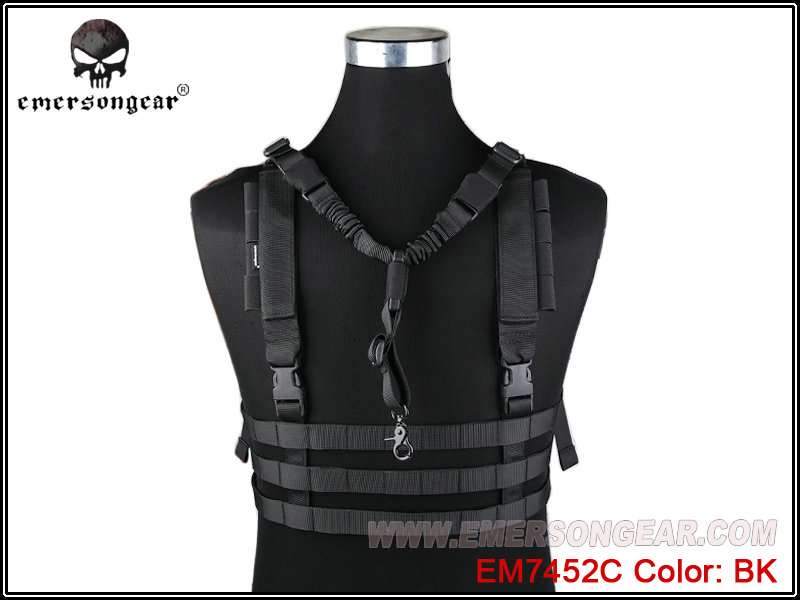 Entrega RáPida Sistema Militar Airsoft Combat Emersongear Molle Equipo De Pecho De Perfil Bajo Negro Em7452c 100% Original
