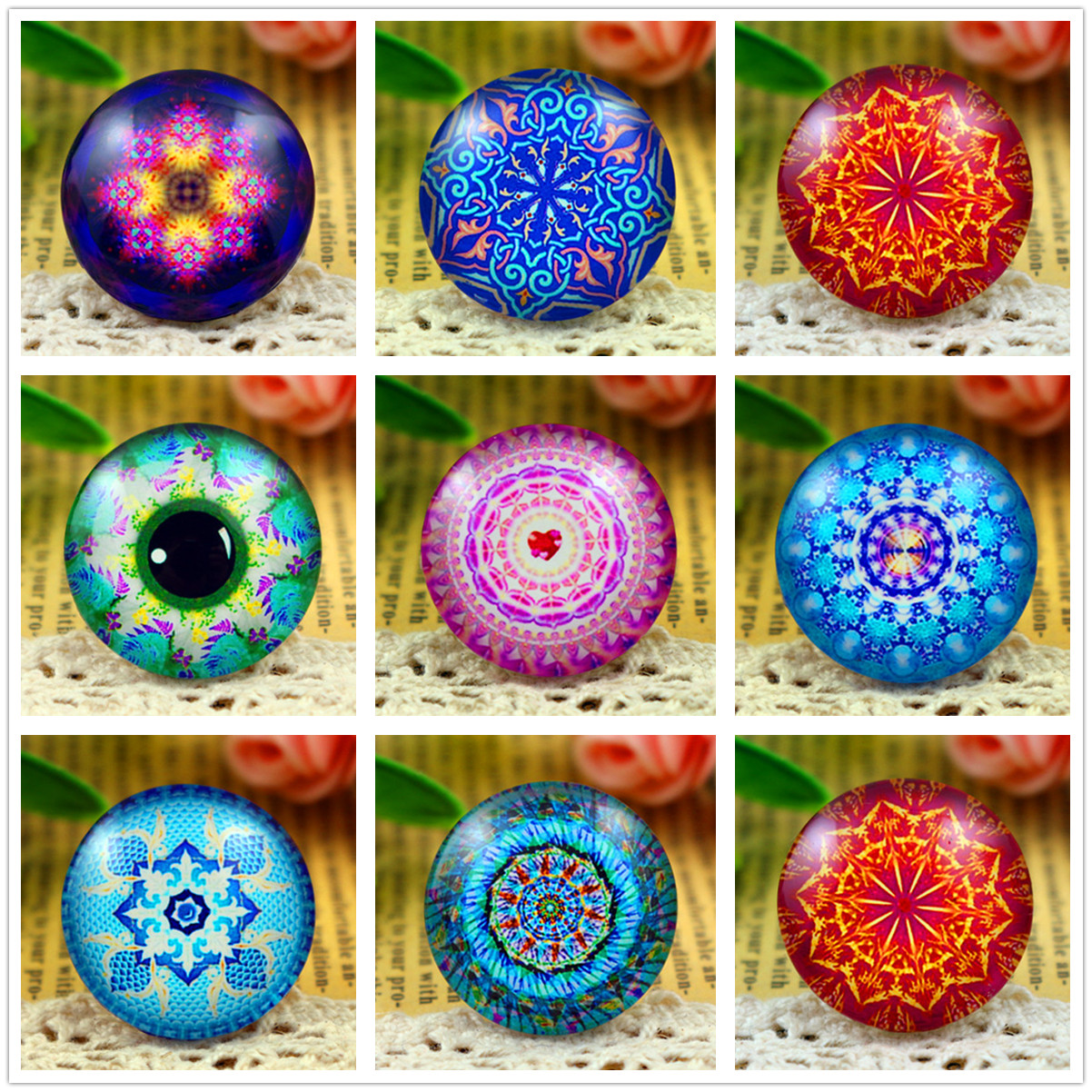 New Fashion  5pcs/Lot 25mm Handmade Photo Glass Cabochons Texture Series