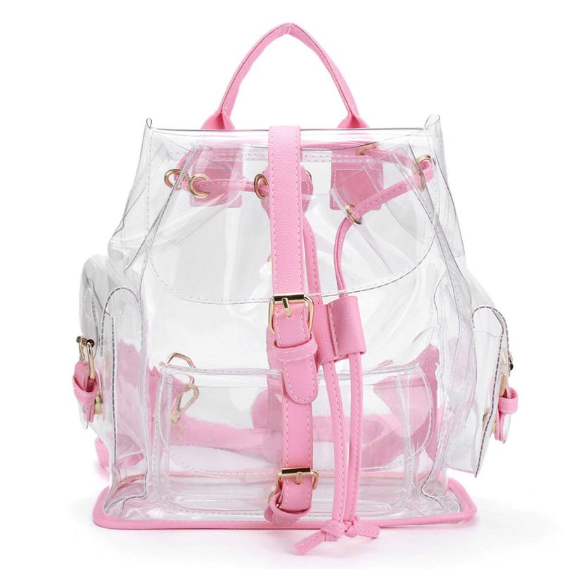 Backpacks High Quality Women s Clear Plastic See Through Security Transparent Backpack Bag Travel Bag Dropshipping