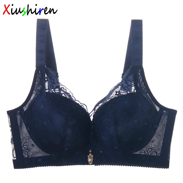 cfe6f43c6c XIUSHIREN Women s Girl Bra Lace 3 4 cup Thin soutien gorge Big Size Large  Breast Cover Sexy Big Size Blue sutia 36-44 C D DE0016
