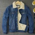Invierno Nueva Moda Retro Hombres De Piel Forro Jean Chaquetas Polar Macho Chaqueta de Un Solo pecho Abrigo de Mezclilla Botón Outwear Tamaño M-2xl