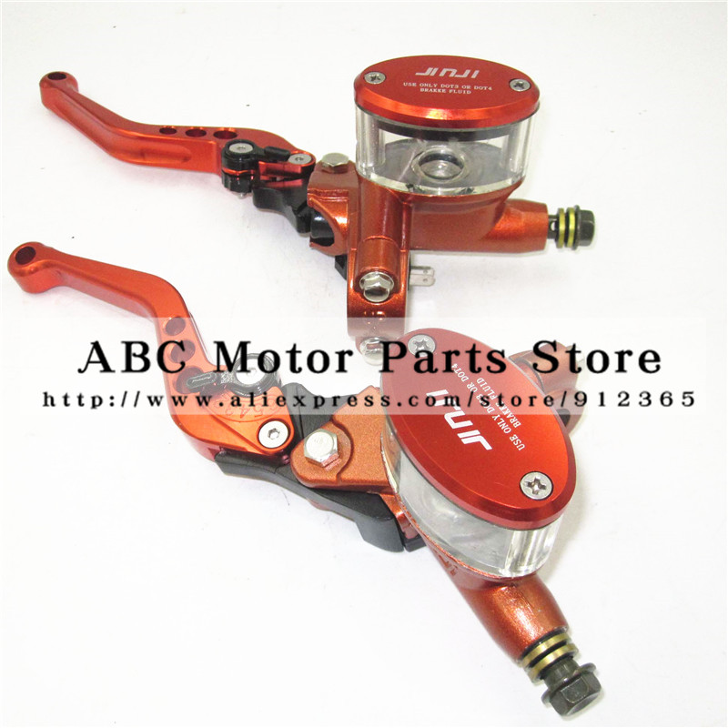 Disc Brake Lever Left and Right for Electric motorcycle scooter Hydraulic clutch Brake Hand Lever CNC aluminum Orange colour shimano slx bl m7000 m675 hydraulic disc brake lever left right brake caliper mtb bicycle parts