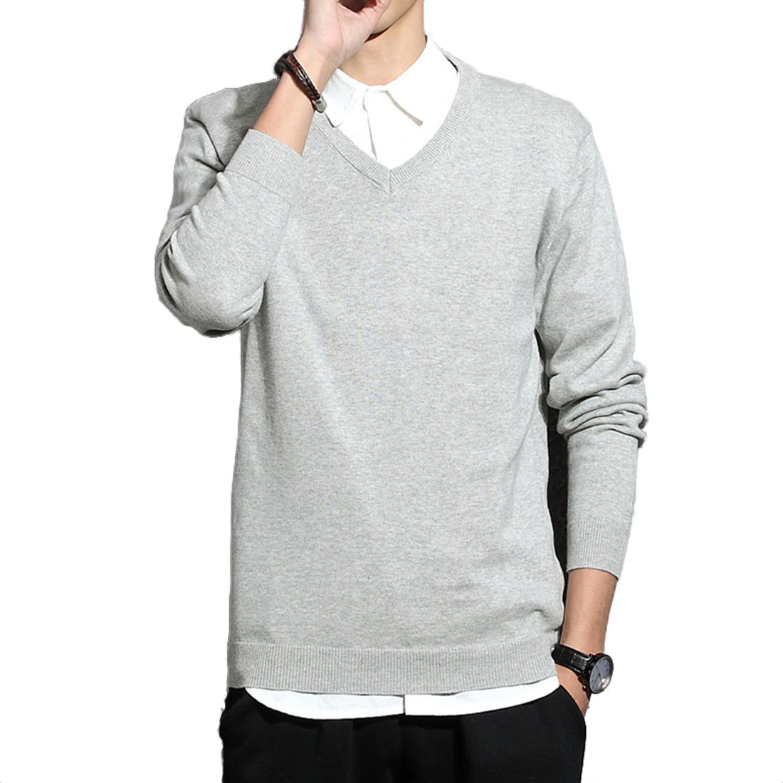 Knitted Sweater Outwear Pullover Pull-Clothing V-Neck Long-Sleeve Winter Mens Chandail