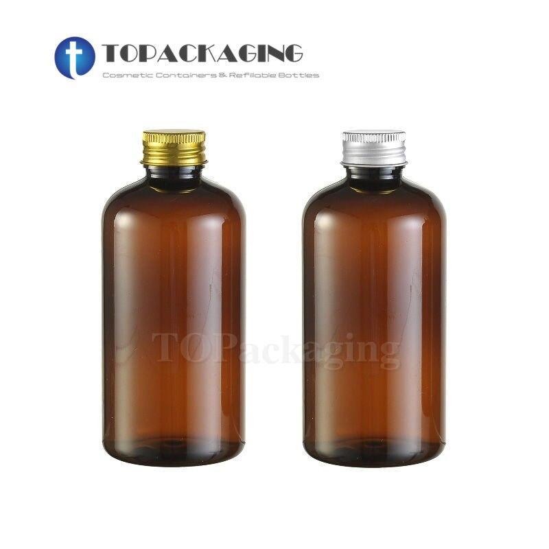 20PCS*220ML Aluminum Screw Cap Bottle Amber Plastic Cosmetic Container Sample Essence Oil Empty Shampoo Lotion Refillable Bottle